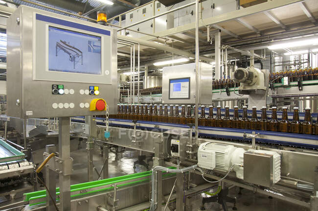 Пивний пляшковий завод з рухомими поясами, рядами пляшок, автоматизованими процесами, упаковкою, маркуванням і розміщенням ящиків. — стокове фото