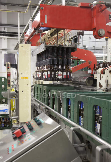 Bottling plant with moving belts, rows of bottles, automated process, capping and labelling and placing in crates — Fotografia de Stock