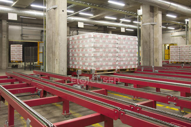 Warehouse,and distribution centre for goods. Steel platforms and pallets, lifting equipment and racking. Shrink wrapped cartons — Fotografia de Stock