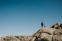 Отец с сыном, стоя на скале — стоковое фото