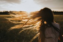 Girl's hair blowing in the wind — Stock Photo