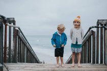 Brother and sister standing on wooden stairs — Stock Photo