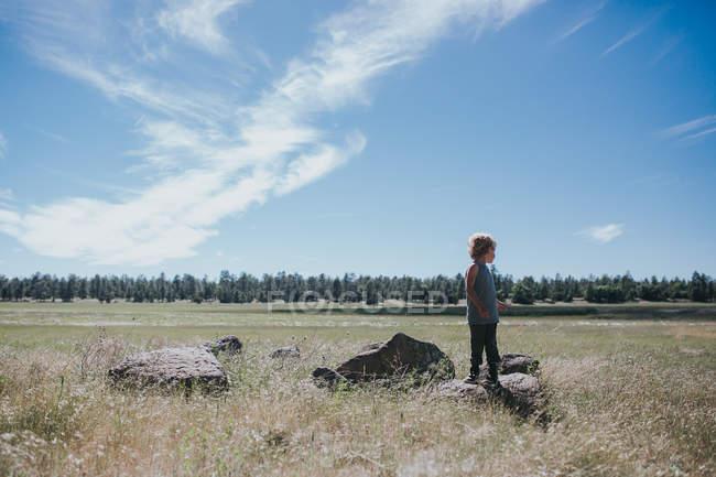 Pequeño niño parado en el campo - foto de stock