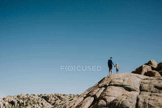 Père avec fils debout sur la falaise — Photo de stock