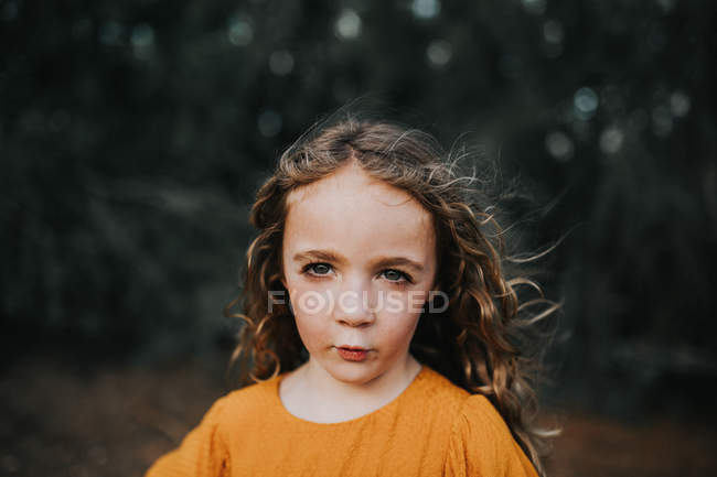 Girl with windswept hair — Stock Photo
