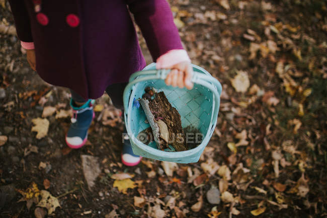 Girl holding basket with bark of tree — Stock Photo