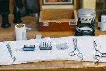Hairdressing tools in barbershop — Stock Photo