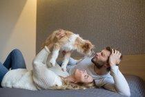 Pareja acariciando perro en sofá - foto de stock