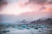 Pedaços de geleira na costa do oceano — Fotografia de Stock