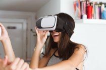 Woman with vr headset — Stock Photo