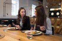 Duas colegas conversando enquanto jantavam — Fotografia de Stock