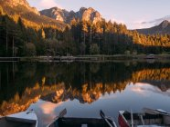 Mirror surface of lake in mountains — Stock Photo
