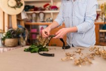 Person making a beautiful handmade headdress — Stock Photo