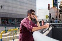 Confident man with coffee — Stock Photo