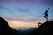 Sillhouette de fille debout sur la falaise — Photo de stock