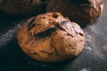 Pan rústico en la oscuridad - foto de stock