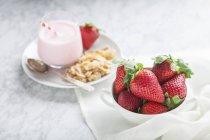 Frische Erdbeeren und Erdbeeren Milchshake — Stockfoto