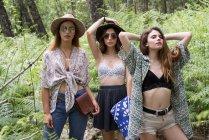 Tres chicas elegantes posando en el bosque - foto de stock