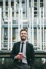 Handsome Businessman Drinking Coffee — Stock Photo
