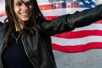Жінка з США прапор — стокове фото