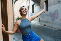 Laughing girl at street — Stock Photo