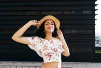 Pretty woman at handrails — Stock Photo