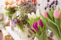 Close-up de fresco cortado tulipas coloridas na floricultura — Fotografia de Stock