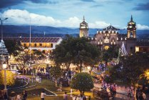 Distant view of illuminated  Main Square of Ayacucho in dusk — Stock Photo