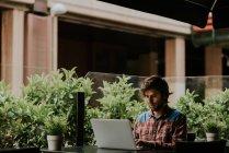 Retrato del hombre barbudo sentado en la mesa de la terraza de la cafetería y usando el ordenador portátil - foto de stock