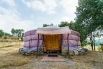 Yurt tent entrance in woods — Stock Photo