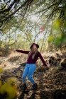 Girl fooling in forest. — Stock Photo