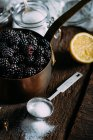 Jam ingridients on wooden table — Stock Photo