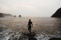 Vista trasera del hombre caminando en surfear olas en el mar de niebla - foto de stock