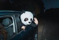 Mann mit Panda-Kopfmaske lehnt sich aus Autofenster und gibt High Five vor Kamera — Stockfoto