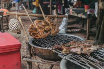Poultry on skewers cooking on grill in village. — Stock Photo