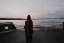 Vista trasera de la mujer envuelta en cuadros de pie en el barco y mirando hacia otro lado en el paisaje marino . - foto de stock