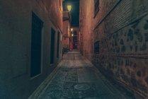 Passagem para portão histórico e ponte na rua à noite . — Fotografia de Stock