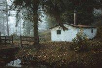 Verlassene Landhaus am nebligen Wald — Stockfoto