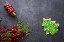 Christmas tree cookie and holiday symbols on table — Stock Photo