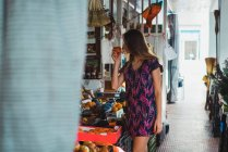 Woman buying fruits on street  market — Stock Photo
