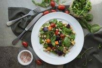 Пластини свіжі смачний овочевий салат подають на стіл. — стокове фото