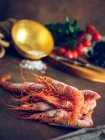 Still life of frozen shrimps on table — Stock Photo