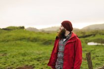 Dreamy bearded man posing in nature — Stock Photo