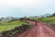 Ourist in giacca rossa a piedi sulla strada rurale nel campo verde. — Foto stock