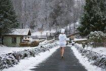 Вид сзади на женщину в халате, идущую по деревянной дороге в лес зимой . — стоковое фото