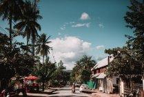 Vue arrière du personne qui conduit le scooter par tropic village en journée ensoleillée. — Photo de stock