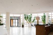 Vista interior do grande hall hotel com portas de entrada — Fotografia de Stock