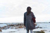 Задній вид брюнетка жінку, що стоїть на березі океану — стокове фото