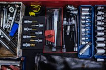Toolbox in mechanical garage — Stock Photo