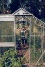 Ragazzo in piedi in serra — Foto stock